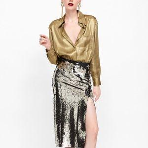 Zara Gold/Black Side Slit Midi Sequin Skirt